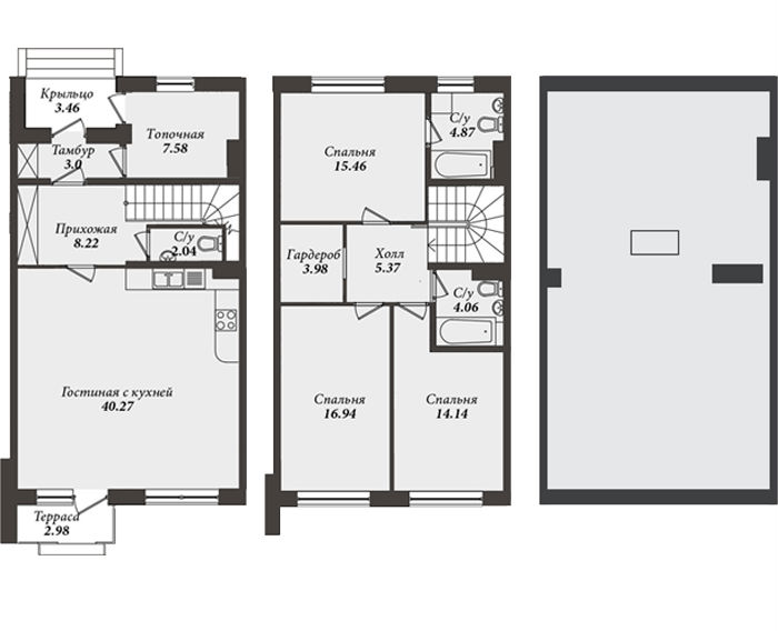 Планировка Таун Хаус площадью 127.4 кв.м в ЖК «Александровский»