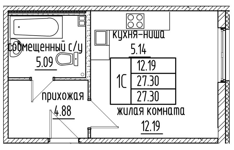 Планировка Студия площадью 27.3 кв.м в ЖК «Александровский»