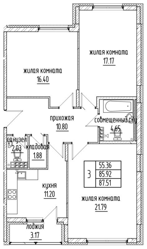 Планировка Трёхкомнатная квартира площадью 85.92 кв.м в ЖК «Александровский»