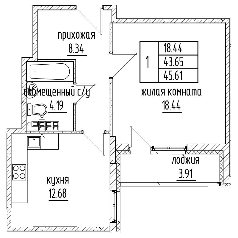 Планировка Однокомнатная квартира площадью 43.65 кв.м в ЖК «Александровский»