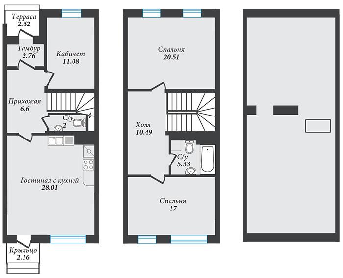 Планировка Четырёхкомнатная квартира (Евро) площадью 107.44 кв.м в ЖК «Александровский»
