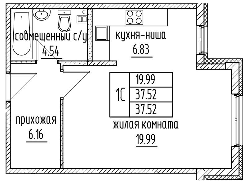 Планировка Студия площадью 37.52 кв.м в ЖК «Александровский»
