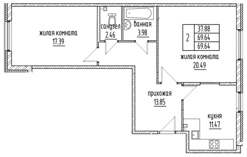 Планировка Двухкомнатная квартира площадью 69.64 кв.м в ЖК «Александровский»