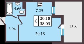 Планировка Однокомнатная квартира площадью 38.03 кв.м в ЖК «Александровский»