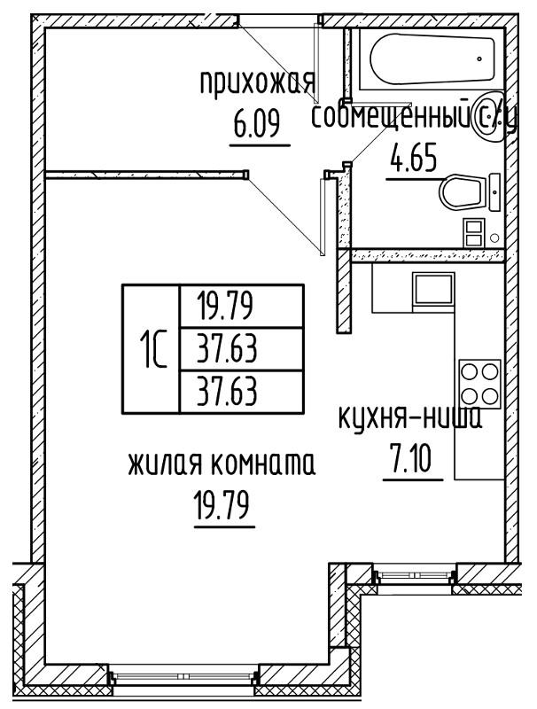 Планировка Студия площадью 37.63 кв.м в ЖК «Александровский»